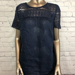 J Crew Top Linen Lace Blouse Blue Short Sleeve 6